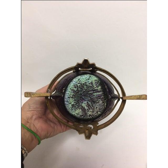 Purple Art Nouveau Kralik Vase in Bronze Armature For Sale - Image 8 of 8