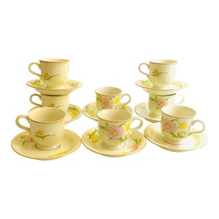 "Vintage Mikasa Celadon Glaze ""Winsome Pattern"" Cups & Saucers - Service for 8 For Sale"