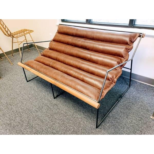 Modern Mid Century Style Style Brown Leather & Metal Sling Loveseat For Sale - Image 10 of 12