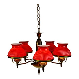 Vintage 5 Light Ribbed Cranberry Glass Student Shade Chandelier For Sale