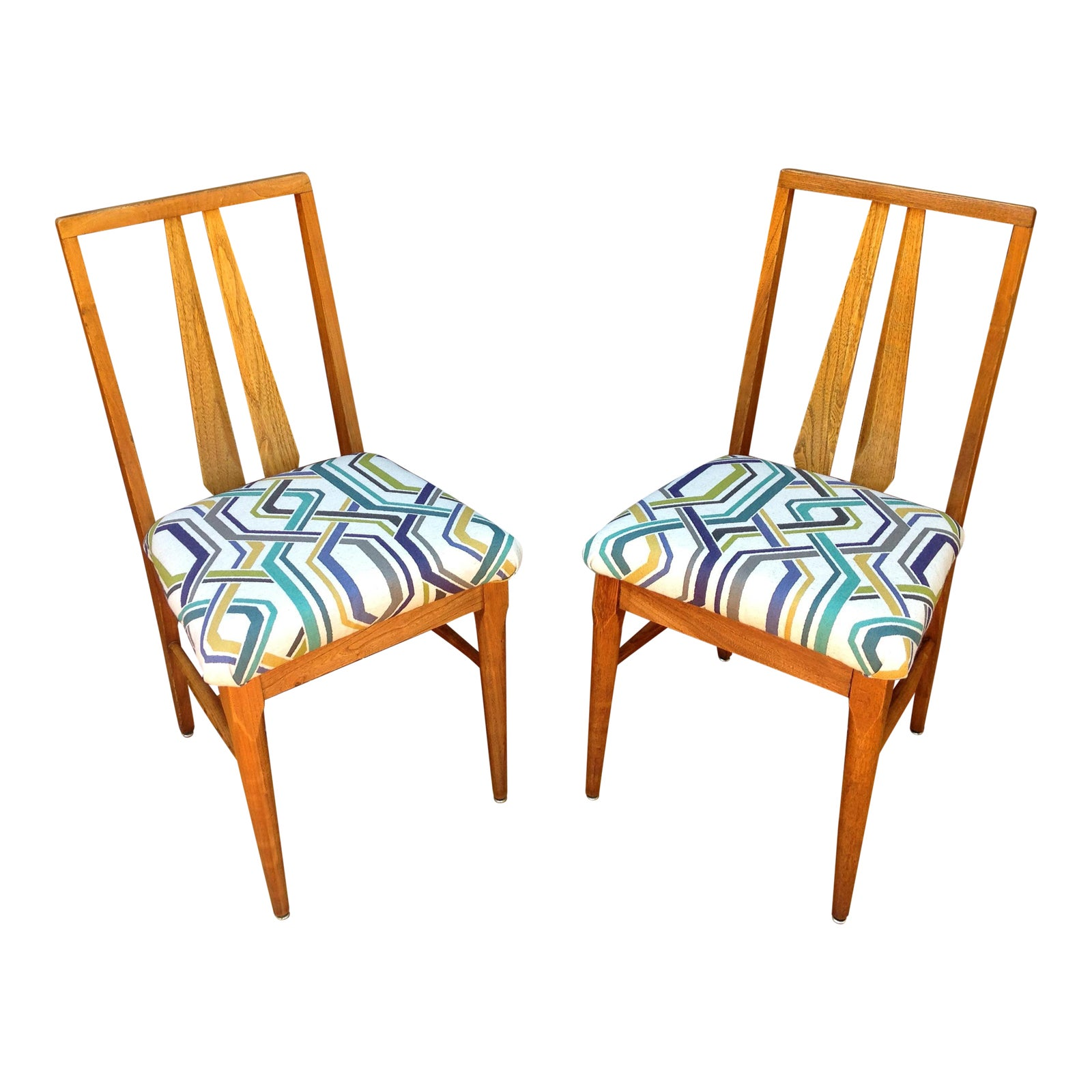 Vintage Wood Accent Chairs A Pair Chairish