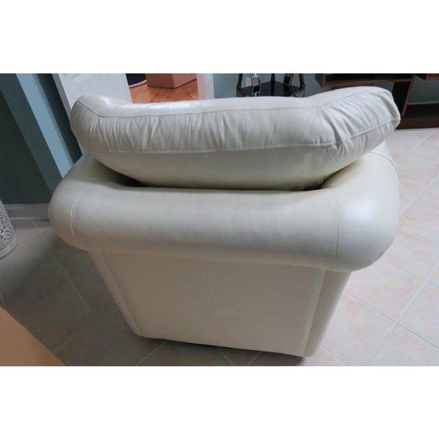 Art Deco White Leather Chair & Ottoman - 2 Pieces For Sale - Image 4 of 10