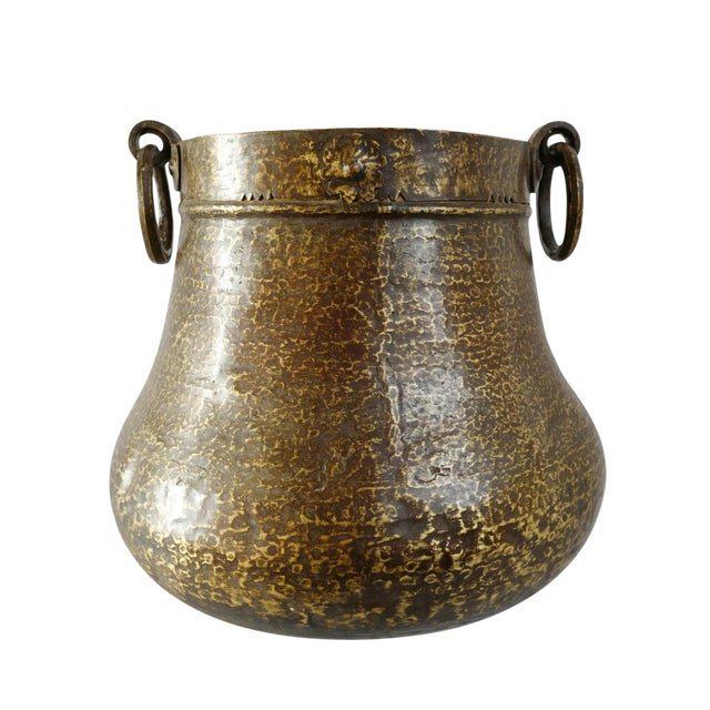 Vintage Brass Hammered Pot For Sale