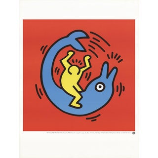 Keith Haring, Dolphin Button, Edition: 2500, Offset Lithograph, 1989 For Sale