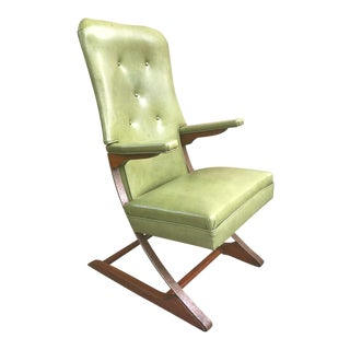 1940s Retro Leather Wood and Steel Bouncer Arm Chair For Sale