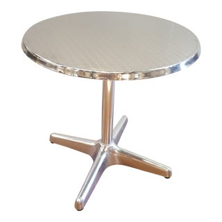 Round Stainless Steel/Aluminum Bistro Tables (Three Available) For Sale