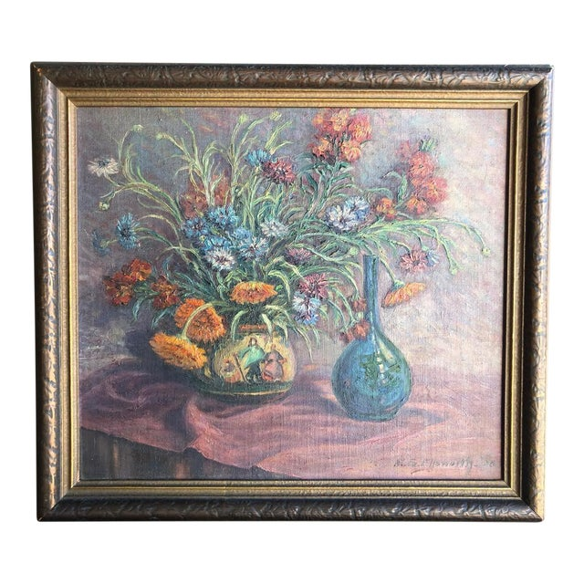 1920s Vintage Edyth Glover Ellsworth Still Life With Flowers and Blue Vase Painting For Sale