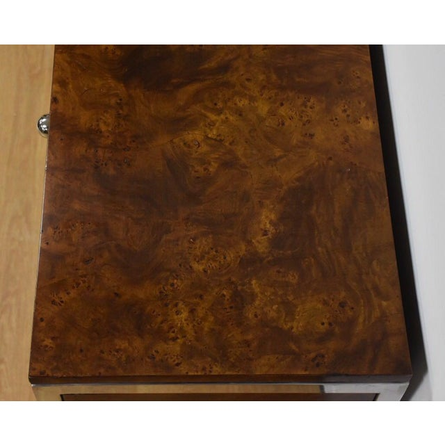 Brown Tomlinson Burl and Chrome Credenza For Sale - Image 8 of 11