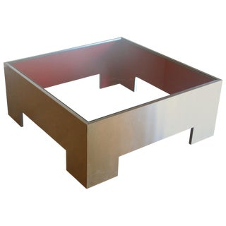 Contemporary Modern Glass Top Metal Coffee Table For Sale