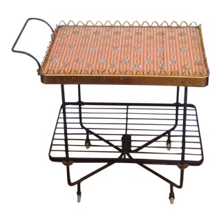 1950s Wrought Iron Glass Top Serving Bar Cart on Wheels For Sale