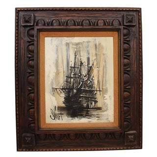 Mid-Century Ship Painting on Canvas, Signed For Sale