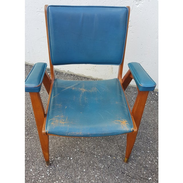 Vintage Gio Ponti Chairs in Teal Leather - Pair For Sale In Detroit - Image 6 of 8