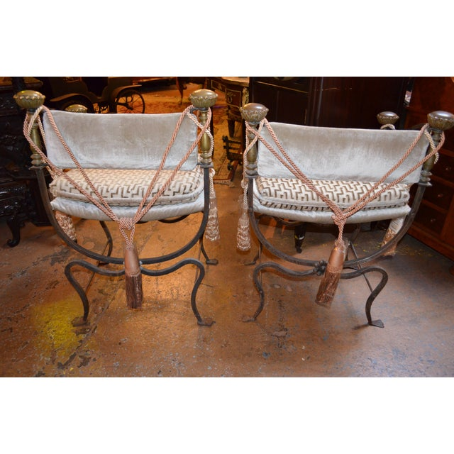 Italian Late 19th Century Antique Italian Curule Savonarola Campaign Throne Chairs- A Pair For Sale - Image 3 of 8