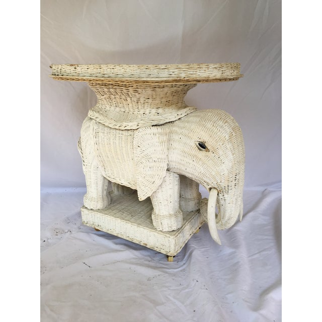 Boho Chic Vintage White Wicker Elephant Side Table With Mirrored Tray For Sale - Image 3 of 12