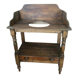 Vintage Rustic Pine Washstand with Drawer For Sale