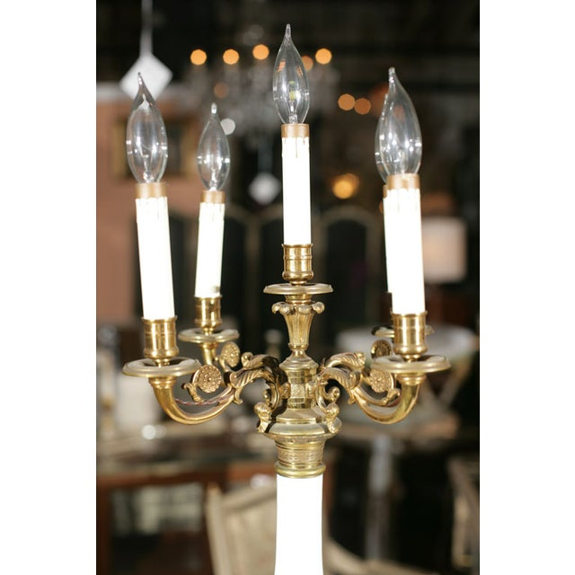 Bronze & Milk Glass Candelabras - A Pair - Image 4 of 6