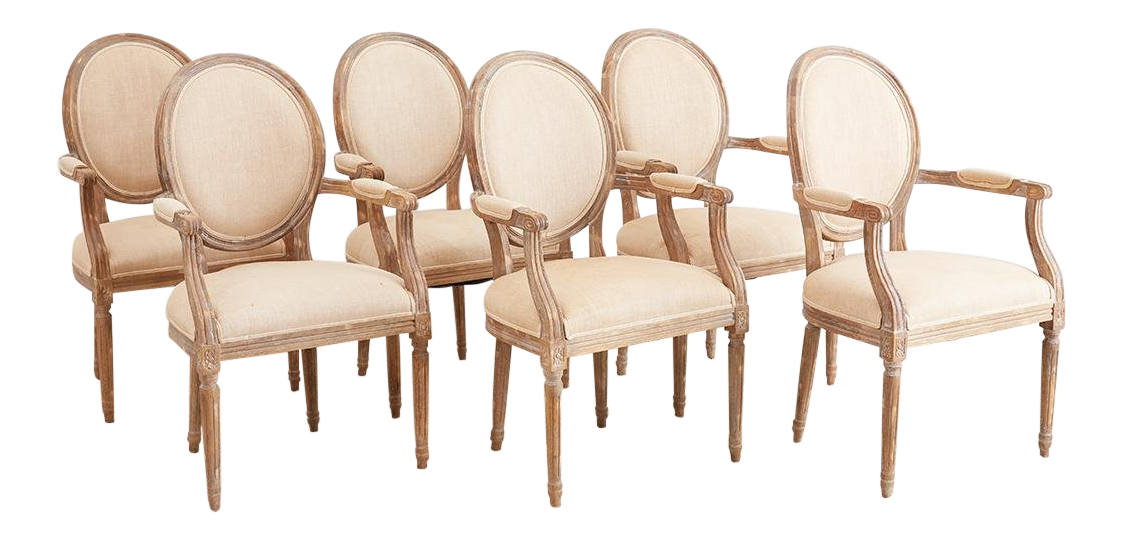Set of Six French Louis XVI Style Dining Chairs For Sale
