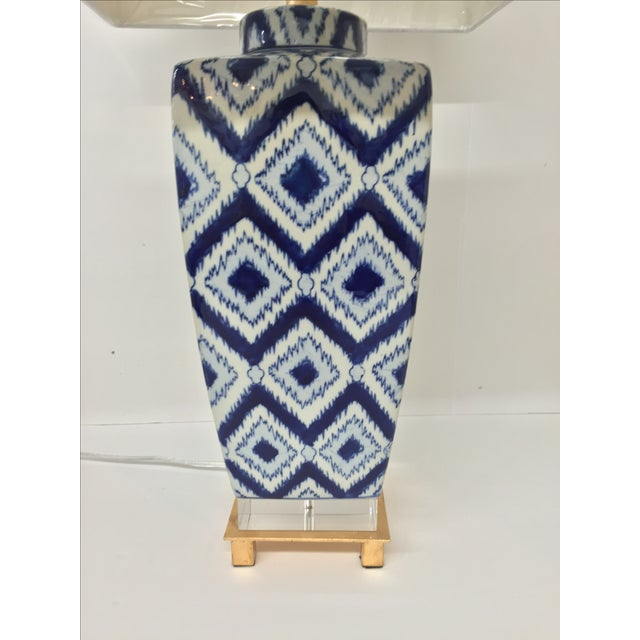 Blue & White Ikat Table Lamp - Image 3 of 4