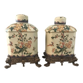 Ginger Jars on Brass Bases - A Pair For Sale
