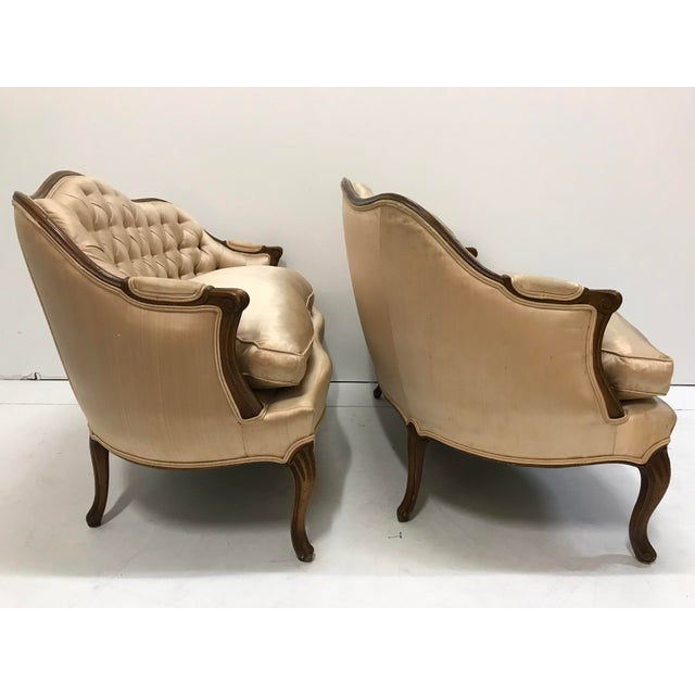 1960s 1960s Country French Loveseats Settee Cabriole Leg Louis XV Style Button Tufted Carved Frame - a Pair For Sale - Image 5 of 12