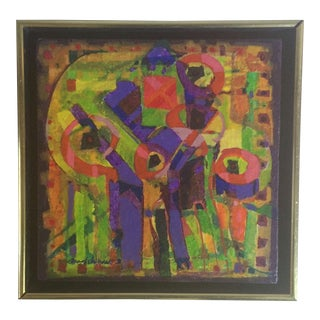 1970s Abstract Mid-Century Modernist Painting For Sale