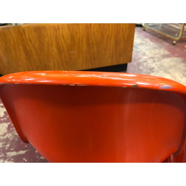 Vintage Vitra for Herman Miller Mid-Century Modern Orange Verner Panton S Chairs - a Pair For Sale - Image 10 of 13