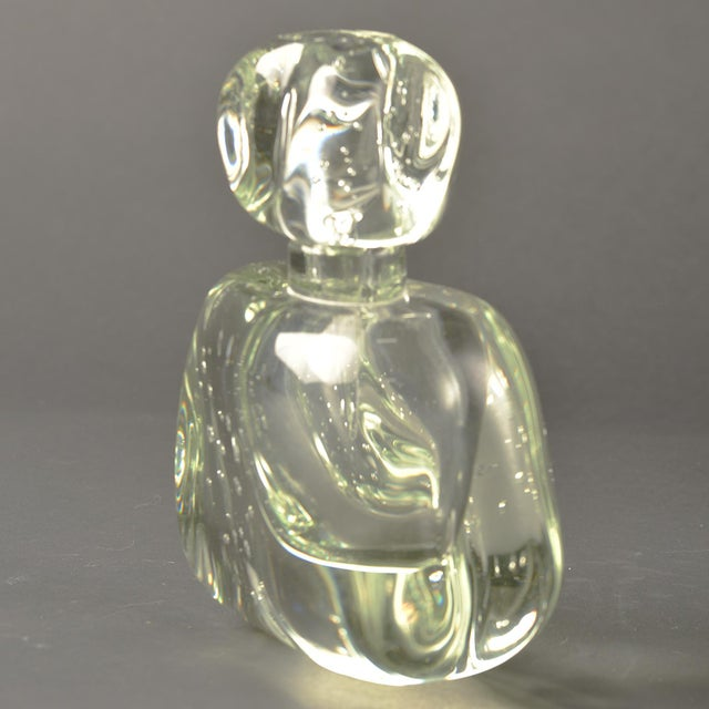 Italian Extra Large Clear Murano Glass Perfume Bottle For Sale - Image 3 of 7