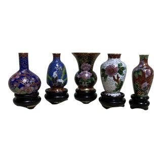 Miniature Cloisonné Vases - Set of 5 For Sale