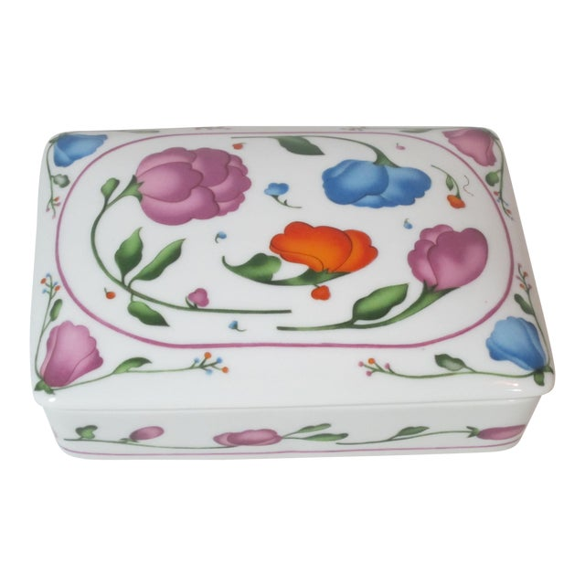 Horchow Porcelain Card Box With Cards For Sale