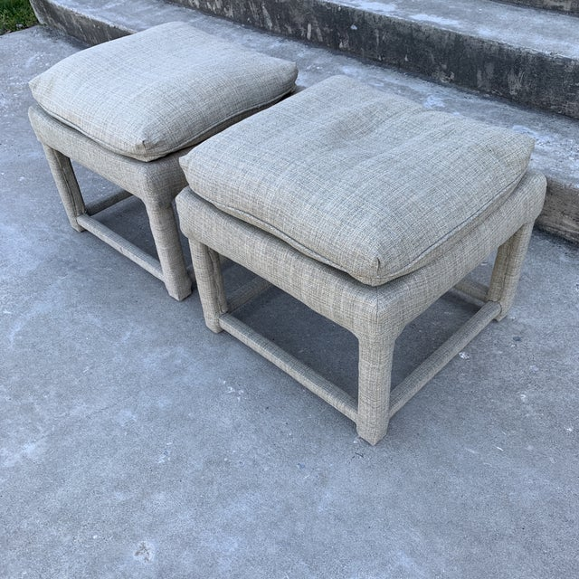 Great pair of Milo Baughman parsons style ottomans for Thayer Coggin. The upholstery is in excellent condition in a very...
