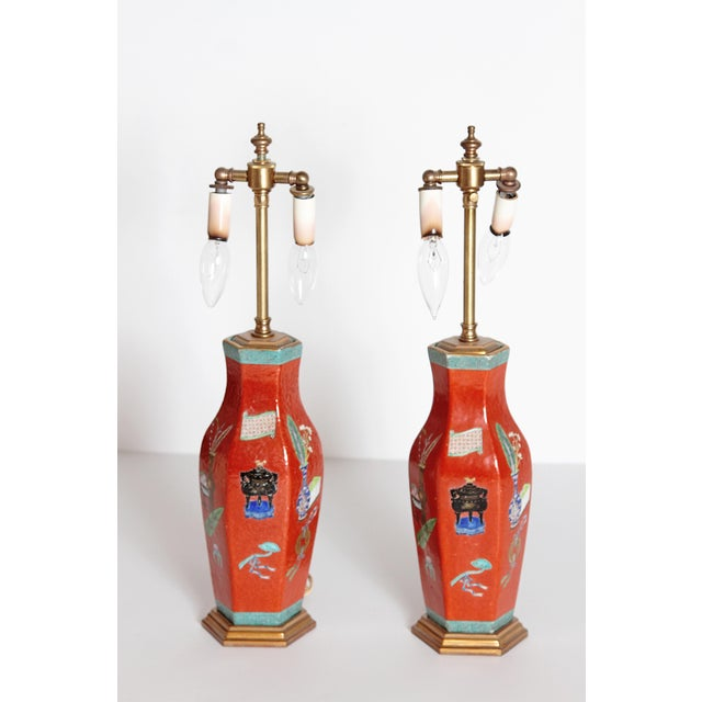 Gold Pair of Early 19th Century Porcelain Chinese Vases as Lamps For Sale - Image 8 of 13