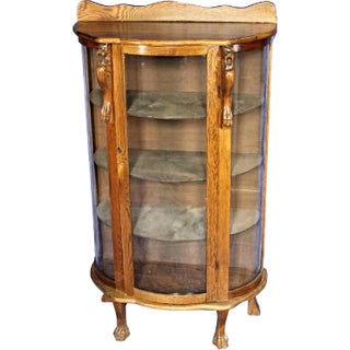 Antique Oak Curved Curio Display China Cabinet, 1900s Preview
