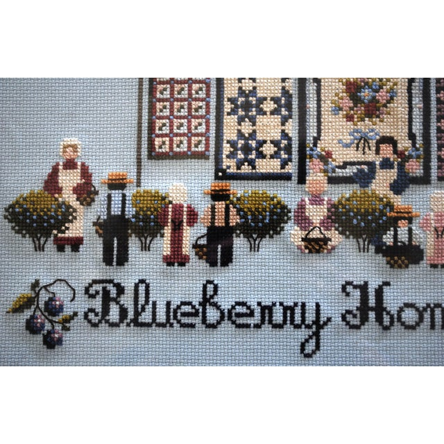 Amish Style Blueberry Homecoming Cross Stitch Textile Art For Sale - Image 4 of 8