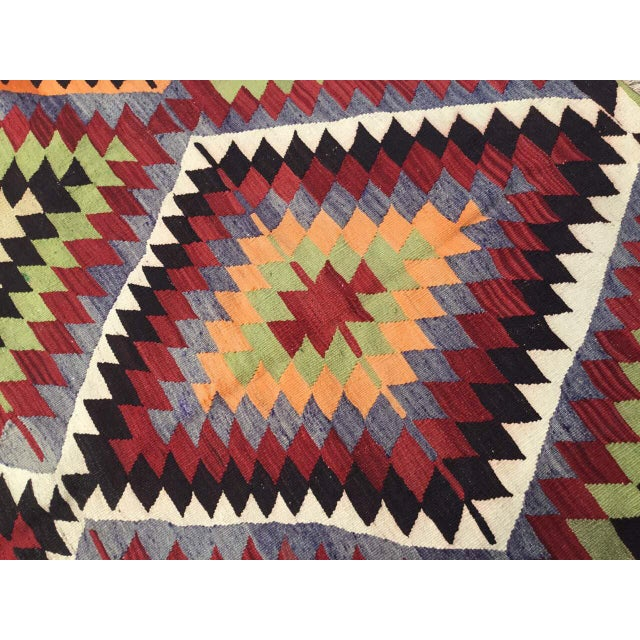 Textile Vintage Turkish Kilim Rug For Sale - Image 7 of 10