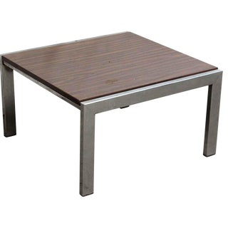 Wood Coffee Table with Steel Base For Sale