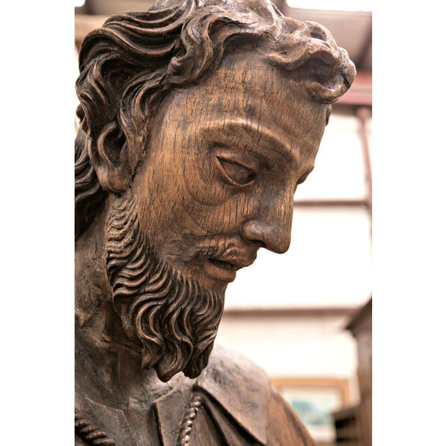 18th Century Life Size Carved Wood Statue of St. Joseph For Sale - Image 4 of 10
