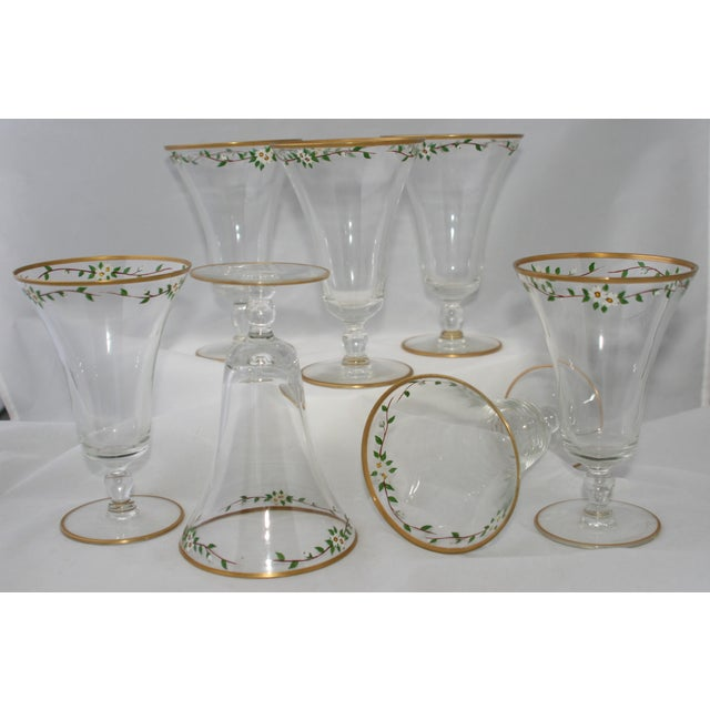 Vintage Hand Painted Footed Water Glasses - S/7 - Image 3 of 4
