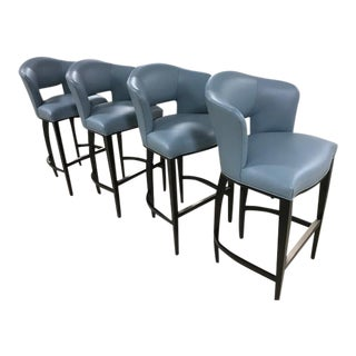 Leather Donghia Trillion Bar Stools - Set of 4 For Sale