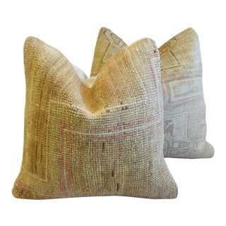 """Earth-Toned Turkish Wool Carpet Rug Pillows 20"""" Square - Pair For Sale"""