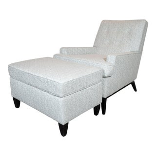Mid-Century Modern Armchair and Ottoman in Sky Blue Upholstery by Paul McCobb - a Pair For Sale