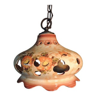 Vintage used brown chandeliers chairish ceramic italian pendent aloadofball Gallery