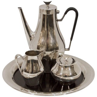 Denmark Coffee Service With Tray by John Prip for Reed & Barton For Sale
