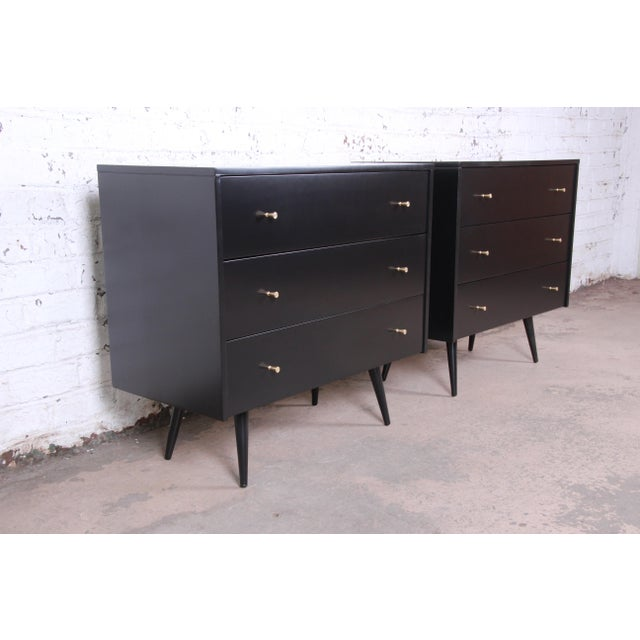 Contemporary Paul McCobb Planner Group Black Lacquered Three Drawer Bachelor Chests or Large Nightstands, Newly Restored For Sale - Image 3 of 13