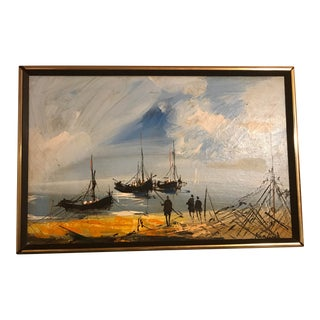 1960s Vintage Signed Original Oil on Linen Ships in Bay Painting For Sale