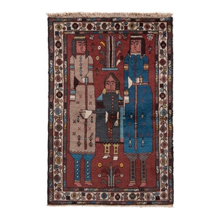 Hand-Knotted Antique Lori Persian Rug in Brown Pictorial Pattern For Sale