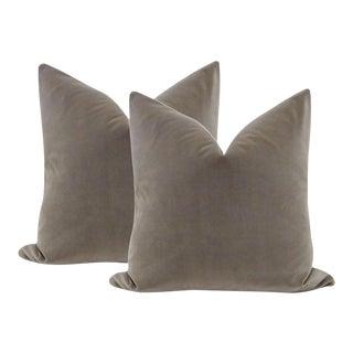 """22"""" Dove Gray Velvet Pillows - a Pair For Sale"""