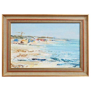 Mid Century T. Scola Coastal Painting Oil on Board For Sale