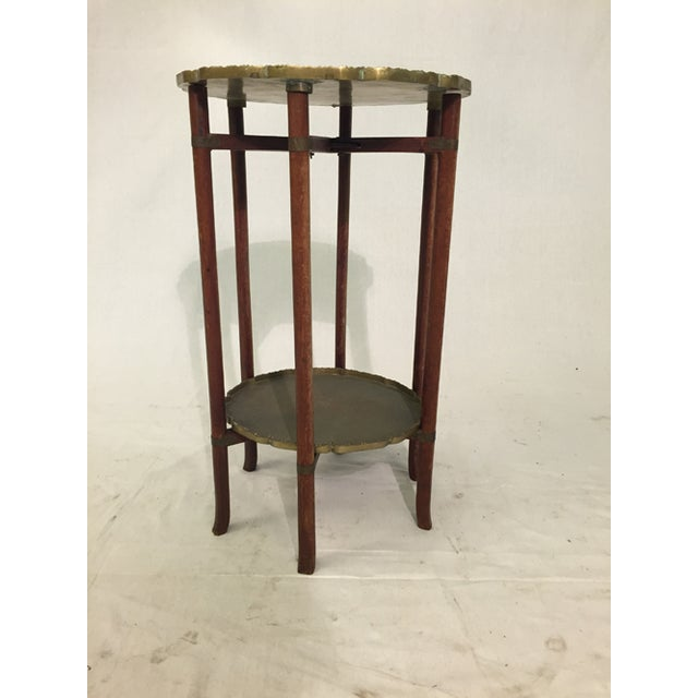 Asian Antique Chinese Two-Tier Folding Table with Brass For Sale - Image 3 of 8