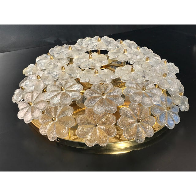 Ernst Palme Extra Large Floral Glass Flush Mount - Image 3 of 7