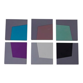 1980s Post Modern Anodized Aluminum and ABS Coasters by David Tisdale for Elika Corporation - Set of 6 For Sale